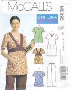 8d9ae0b0cab McCall's 5895 M5895 Misses Sewing Pattern Uniform Scrubs Dress Tops Pants  Sizes 8-10-12-14-16 Womens