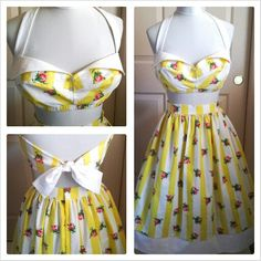floralprint shabbychic yellow country girl rockabilly pinup One of my favorite play suits I've made this was a custom set for the lovely kandy k 2piece retro 50s inspired playsuit bandeau halter bra top with retro fold collar front rhinestone buttons completely lined side boning for form fit and under bust elastic for support.