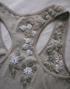 Floral design embroidery on a racer back t-shirt