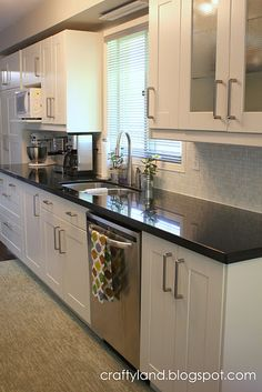 Frosted glass cabinet doors, white cabinets, black counters, neutral backsplash