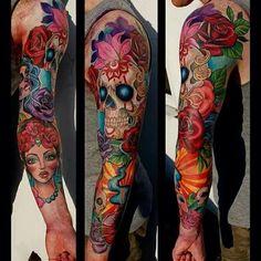 Day of the dead tattoo by Hannah Calavera of oxford Badass Tattoos, Great Tattoos, Unique Tattoos, Beautiful Tattoos, Feminine Tattoo Sleeves, Feminine Tattoos, See Tattoo, Tattoo Blog, Rose Tattoos
