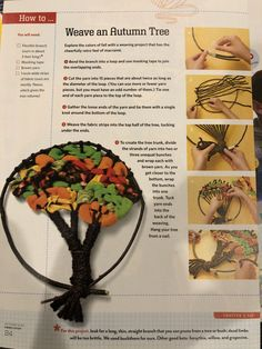 Weave autumn tree Weaving Projects, Autumn Trees, Masking Tape, Macrame, Crafts For Kids, Retro, Create, Fall, Craft Ideas