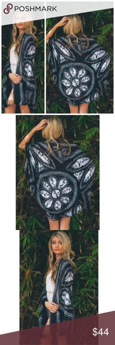 """‼️LAST 1‼️THE DAISY TIE DYE BOHO KIMONO THE DAISY TIE DYE BOHO KIMONO                                                                    ➿AVAILABLE IN BLACK                                      ➿BLUE AVAILABLE IN SEPARATE LISTING                             ➿ONE SIZE FITS MOST 45"""" LONG Accessories Scarves & Wraps"""