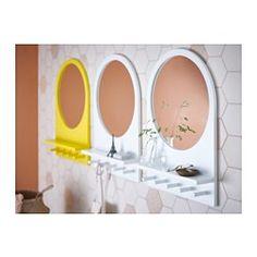 IKEA - SALTRÖD, Speil med hylle og knagger, gul, , Du kan henge alt fra jakker til smykker på knaggene og hylla har plass til sminke og solbriller.Passer i de fleste rom og er testet og godkjent for bruk i baderom.Kommer med sikkerhetsfilm - minsker risikoen for skader om glasset knuses.
