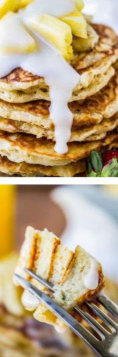 Banana Macadamia Pancakes from The Food Charlatan // Fluffy buttermilk pancakes filled with banana flavor and studded with macadamia nuts, smothered in coconut syrup! So easy.