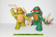 teenage mutant ninja turtles MICHELANGELO RAPHAEL in training Nickelodeon playmates toys tmnt card