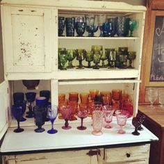 We have colored vintage stemware to add a pop of color to your table settings and especially fun for the bar