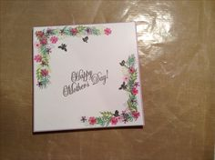 5x5 card made with Card-io and Docrafts stamps