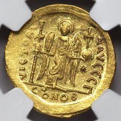 Byzantine Empire Rare Gold Coin AV Solidus Justinian I
