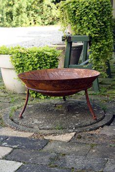 Eld skål rost 47*21H Fika, Wheelbarrow, Garden Tools, Garden Ideas, Pergola, Herbs, Exterior, Flowers, Plants