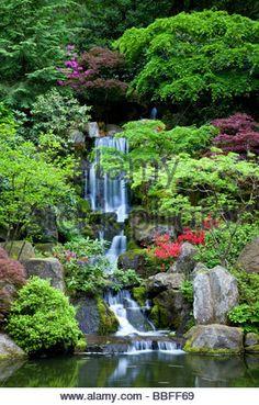 Japanese Garden Portland Oregon USA - Stock Photo