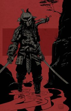 Predator with katanas