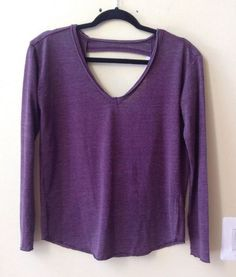 NWT CHASER WOMEN'S PURPLE OPEN BACK COTTON/POLY/RAYON LONG SLEEVE TOP SIZE XS #Chaser #KnitTop
