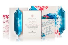 Custom Wedding Invitation for a wedding in St Barts with letterpress, watercolor and gold foil stamping