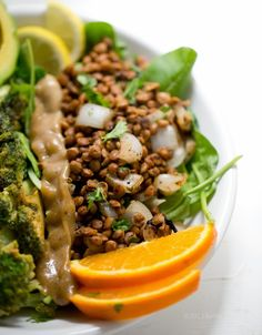 Savory Miso Broccoli + Spiced Lentil Power Plate! Vegan Fast Food.