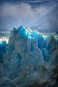 Glaciers of Patagonia, Argentina - cotton candy blue - dangerous due to ice falling; causing tidal waves on lake