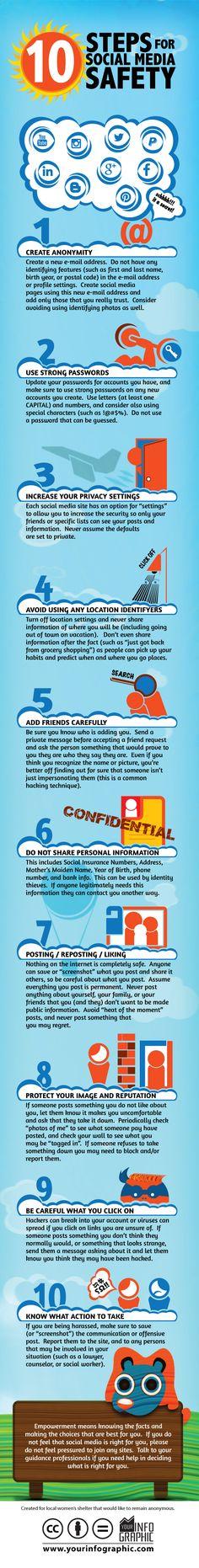 https://goo.gl/4iROKc 10 Steps for Social Media safety #infografia #infographic #socialmedia