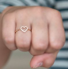 Heart ring with Diamonds and 18k solid gold