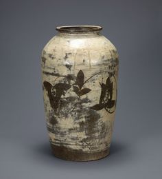 Large jar with peony scroll decoration. Korean, Joseon dynasty (1392-1910); late 15th - early 16th century. Buncheong with iron-painted design. Leeum, Samsung Museum of Art, Seoul.
