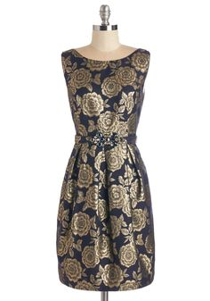 The Golden Jewel Dress. Treat yourself to a decadent night out in this navy-blue cocktail dress. #gold #modcloth
