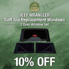 Tinted replacement windows straight from Mopar and on sale this week! Available in black or khaki.  Order now: JustForJeeps.com/sotoprewi.html