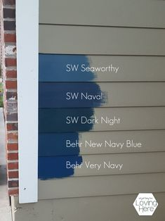 The Navy Blue House on the Corner - Loving Here Navy House Exterior, Exterior Paint Colors For House, Paint Colors For Home, Blue House Exteriors, House Siding Colors, Blue Paint Colors, Exterior Design, Navy Blue Houses, Blue House White Trim