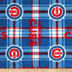 MLB Fleece Chicago Cubs Plaid Red/Blue from @fabricdotcom  Cheer on the Cubs, your favorite MLB team with this MLB fleece! With an anti-pill face this soft, warm and cozy fleece is perfect for throws, stadium blankets, seat cushions, hats, scarves, pillows, vests, pullovers and much more.