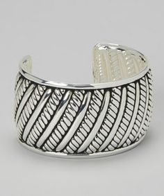 Love this Antiqued Silver Rope & Rails Cuff on #zulily! #zulilyfinds