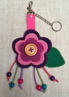 Handmate Felt Flower Key Chain Charm Bag in Purple, Pink and Rosewood,Key Chain,Keychain,Flower Keyring,Keyring,Party Favor,Girl Gift Idea by CorazonarteByIvonne on Etsy