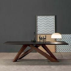 Tavolo con gambe colorate Big Table - piano in noce e gambe rosso-arancio-verde-lilla BIS