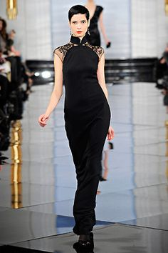 Cheongsam-inspired dress from the Fall 2011 Ralph Lauren collection, image courtesy of Vogue. Fashion Show Dresses, Fashion Outfits, Cheongsam Dress, Runway Fashion, Womens Fashion, Fashion Fashion, Moda Vintage, Ralph Lauren Collection, Oriental Fashion