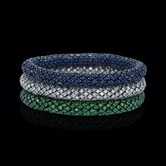 A superb update to your traditional bracelet, these sapphire, diamond, and tsavorite flexible spring bracelets are set in white gold. Gold Bangle Bracelet, Diamond Bracelets, Silver Bracelets, Jewelry Bracelets, Bangles, Modern Jewelry, Fine Jewelry, Silver Jewellery Online, Necklace Designs