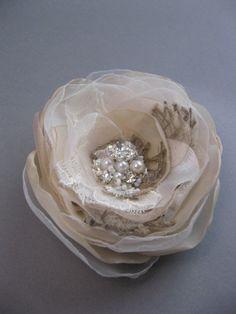 Burlap Wedding hair accessory flower bridal hairpiece by LeFlowers, $29.00