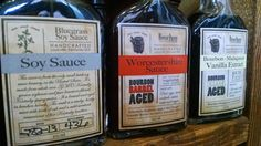 Bourbon Barrel Foods - soy sauce, Worcestershire sauce and bourbon-Madagascar vanilla extract. Highly legible from a distance, without sacrificing the hand-crafted, antique look of the rest of the label design.