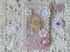 Shabby lace decor Baby  Mixed media tags  by CrossStitchElizabeth