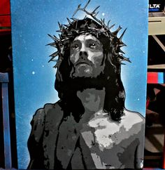 Art by Beatru: Jesus of Nazareth stencil on canvas. I do not practice or promote any type of religion. Someone asked me to make them a painting of Jesus so I did. #stencilart #jesus #jesusofnazareth #stencil #canvasart