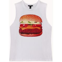 Forever 21 Fun Hamburger Muscle Tee ($13) ❤ liked on Polyvore featuring tops, tanks, forever 21, shirts, oversized tops, forever 21 tank, oversized tank, graphic shirts and shirts & tops