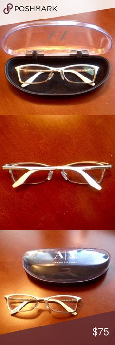 Armani Exchange Prescription Glasses White and light gold (almost silver looking) Armani Exchange prescriptions glasses in excellent condition (the case is in fair condition). Armani Exchange Accessories