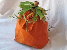 Paper bag pumpkin kid's craft