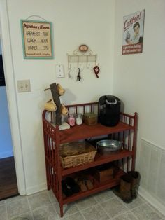 Repurpose a baby changing table into a refreshment center (AKA Coffee Bar) or to hold storage.
