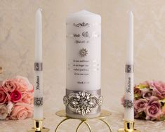 Personalized Unity Candle Set for Wedding Ceremony with Silver Embellishments – Pillar Candles İdeas. Wedding Unity Candles, Gold Candles, Pillar Candles, Jewel Colors, Candle Set, Burning Candle, Personalized Wedding, Wedding Ceremony, Wedding Church