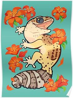 'Fire lily gecko' Poster by Colordrilos Leopard Gecko Cute, Cute Gecko, Cute Animal Drawings, Cute Drawings, Gecko Tattoo, Fire Lily, Cute Lizard, Art Mignon, Cute Reptiles