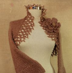 Mystic Flower / Hand Knit Crochet Old Rose Bridal by lilithist