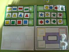 Mi libro de las formas geométricas planas: cada página del libro está dedicada a una forma geométrica (círculo, cuadrado, triángulo, rectángulo, rombo y óvalo). El juego consiste en colocar correctamente la forma geométrica  en el color correspondiente (amarillo, rojo, vede y azul).