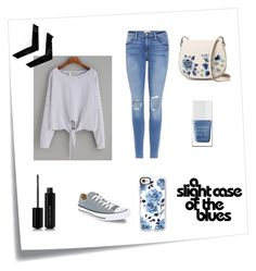 """Blue with a pop of floral"" by elephant-blue ❤ liked on Polyvore featuring Post-It, Frame, Converse, French Connection, The Hand & Foot Spa, Marc Jacobs and Casetify"