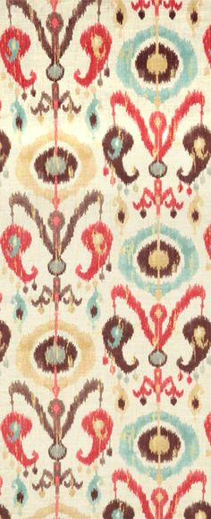 Richloom Holiday Persian Ikat Fabric for home decor accessories in blue, pink and brown rooms.