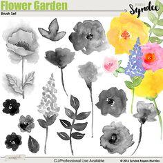 Flower Garden watercolor brush set