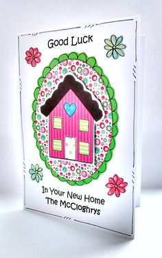 New Home Card  Personalised  Handcrafted  by CraftyMushroomCards