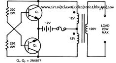 This is a Simple Inverter Circuit from 12 V up to 120V elevated , center - tapped (CT) control transformer and four additional components can do the operation. This circuit outputs a clean about 120 volt - 200 volt at 60 Hz and can supply up to 20 Watt.