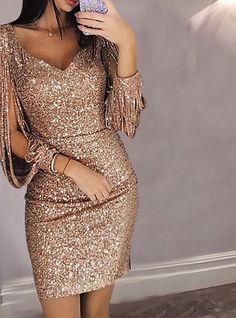 Sexy Deep V Long Sleeve Slim Sequin Bodycon Dress Women's Fashion Dresses, Women's Dresses, Short Dresses, Sleeve Dresses, Party Dresses, Fall Dresses, Elegant Dresses, Casual Dresses, Robes D'occasion